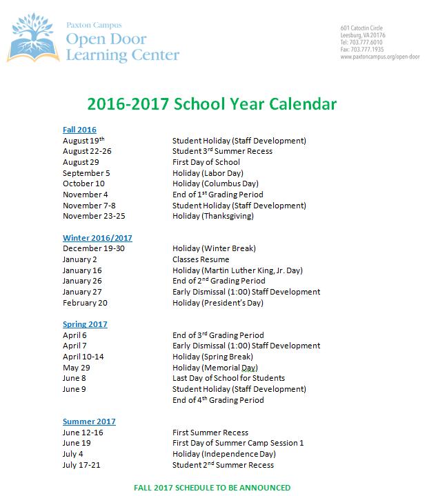 ODLC calendar